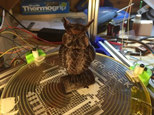 3D printed little brown owl.